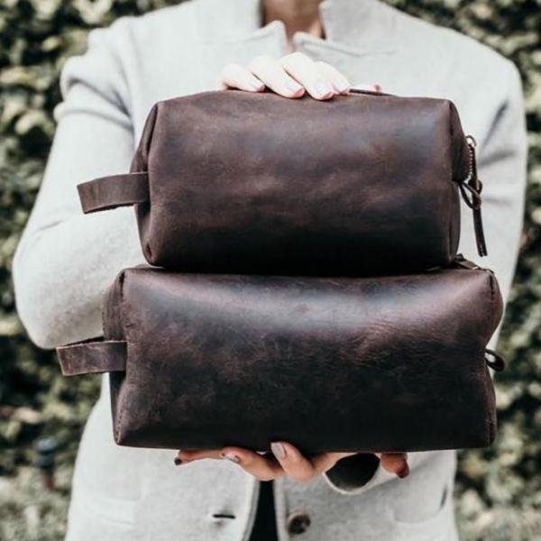 Leather Dopp Kit Bag