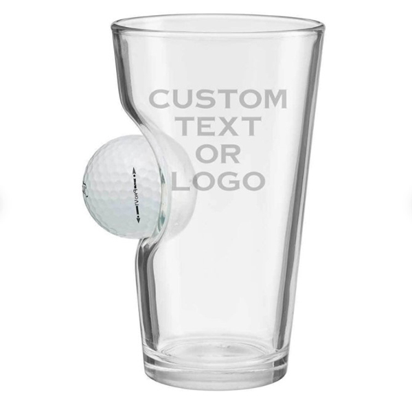 Pint Glass with an embedded real golf ball