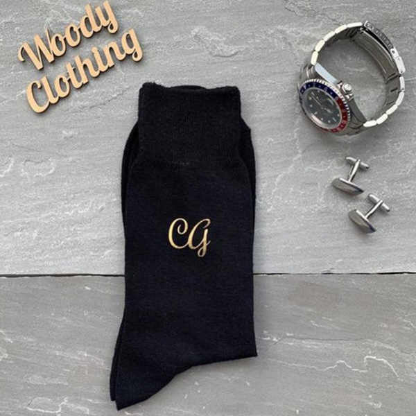 Woody Clothing Groomsmen Initial Monogram Socks