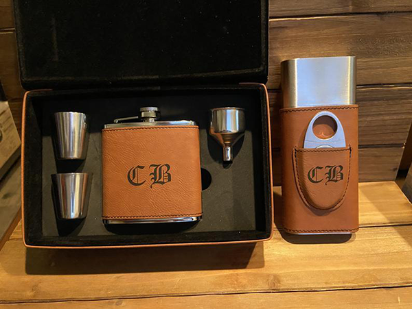 Personalized Gift Set with Cigar Travel Case and Flask