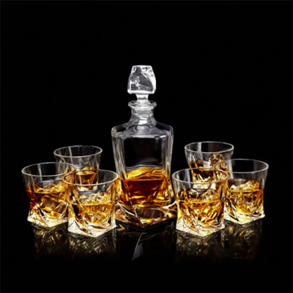 Elegant Twist Whiskey Decanter Set with Six Twisted Glasses