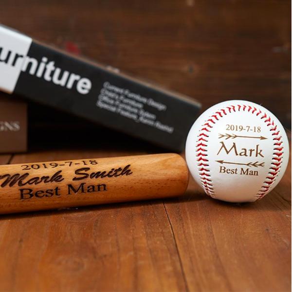 engraved baseball set