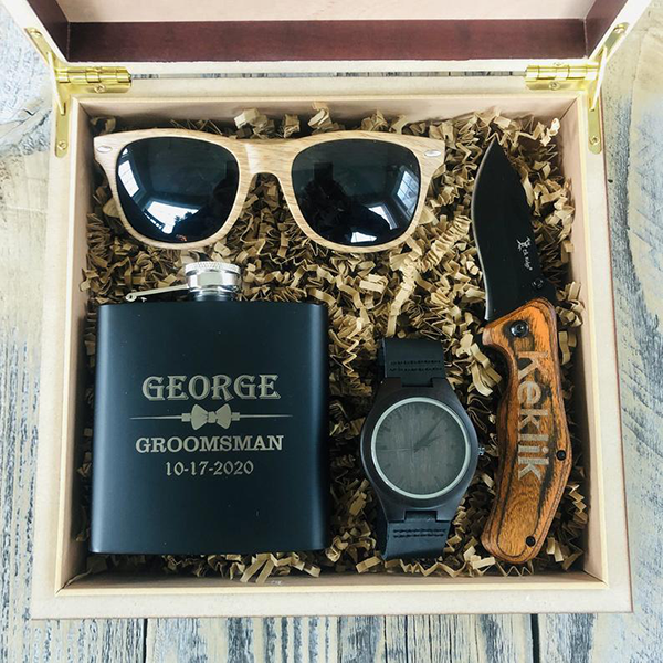 Humidor with Groomsmen Essentials