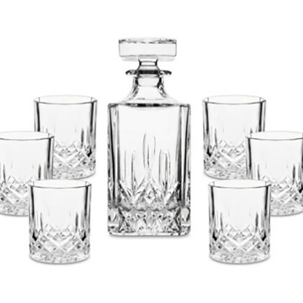 Classic Whiskey Decanter with Six Glasses