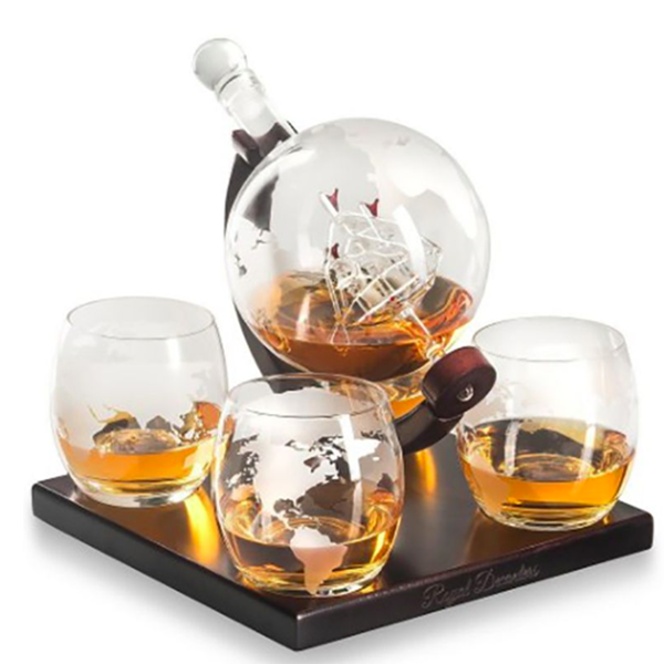 Whiskey Decanter Globe Set with Four Glasses