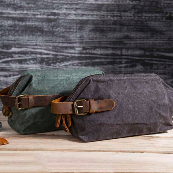 waxed canvas toiletry bags
