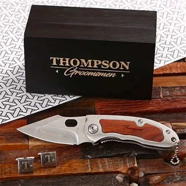 Personalized cuff link and pocket knife set