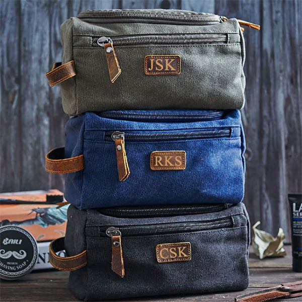 Canvas and Genuine Leather Dopp Kit Bag