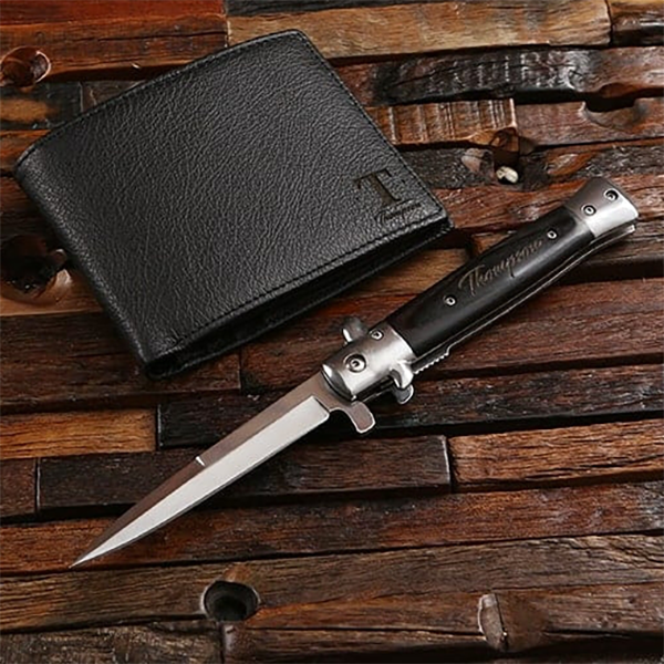 quality genuine leather wallet and a switchblade knife set