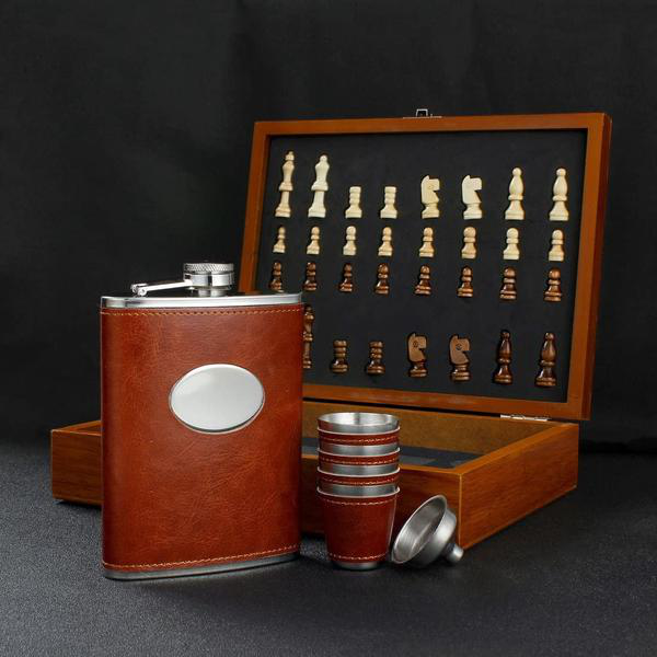 Chess + Leather Hip Flask Set