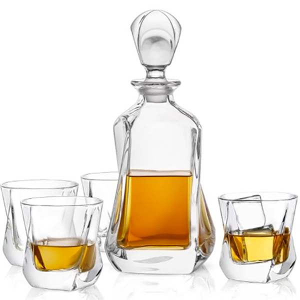 Twisted Crystal Whiskey Decanter Set with Glasses