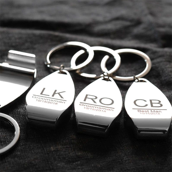 stainless steel groomsmen bottle opener keychain