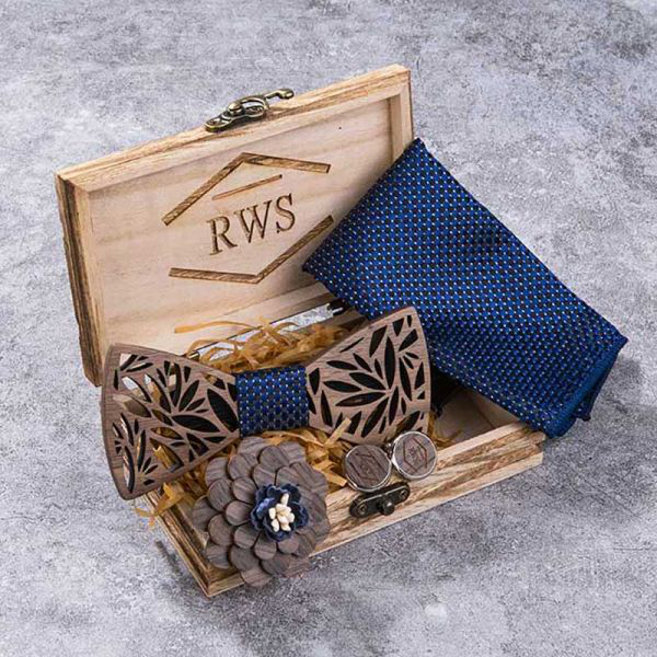Old World Vintage with Wooden Bow Tie Set of 5