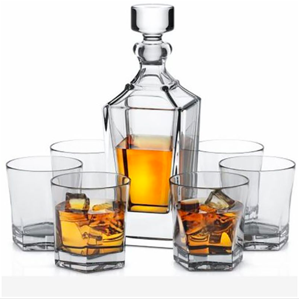 Whiskey Decanter Set with Six Old Fashioned Glasses
