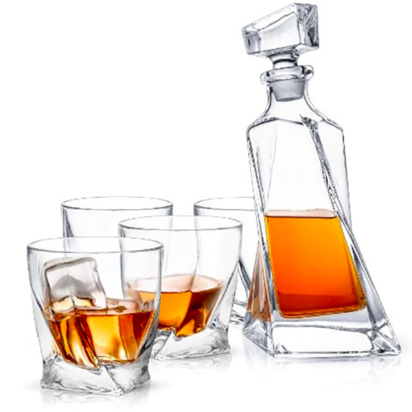 Atlas Whiskey Decanter Set with Four Glasses
