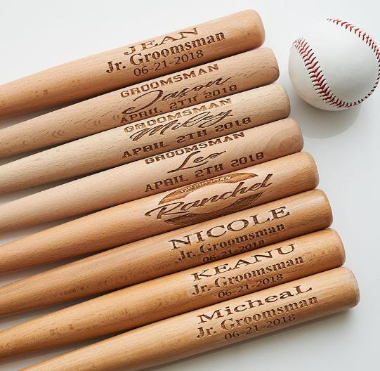 Groomsmen engraved baseball