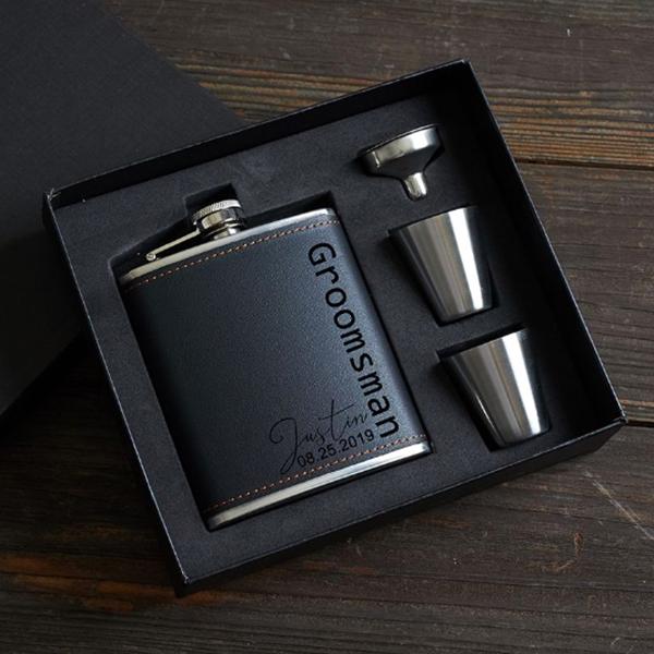 black leather flask gift set