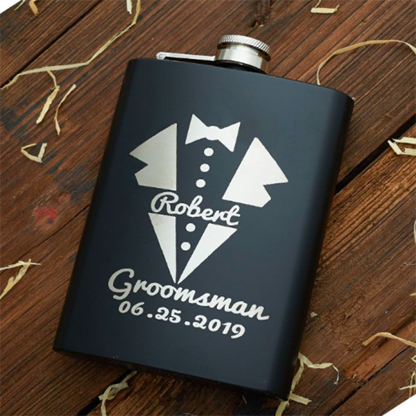 personalized tuxedo engraved groomsman flask