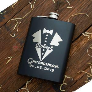 a personalized groomsmen black flask