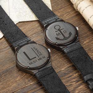black engraved groomsman wood watch 1