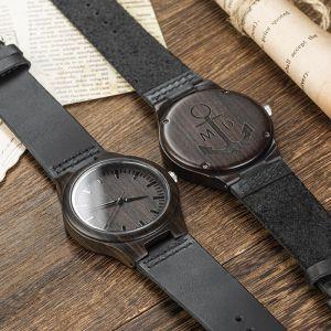 black engraved groomsman wood watch 4