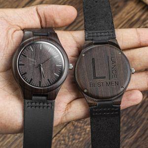 black engraved groomsman wood watch