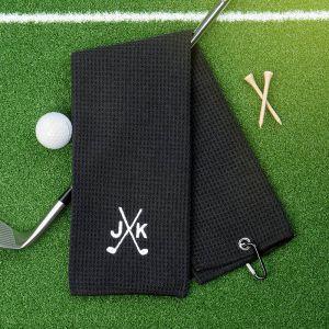 black groomsmen microfiber golf towel