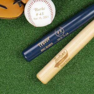 blue wood color baseball bat and a ball