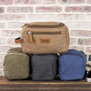 canvas and genuine leather dopp kit bag 1