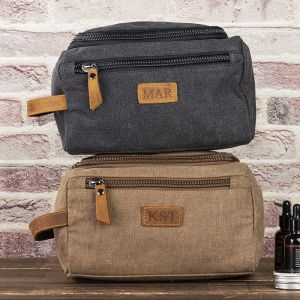 canvas and genuine leather dopp kit bag 3