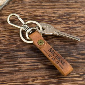 engraved brown leather keychain