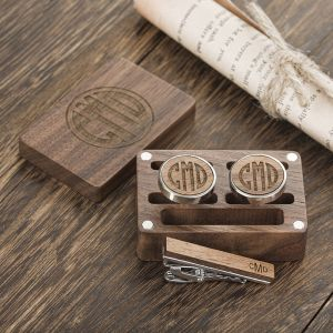 engraved cufflinks and tie clip set