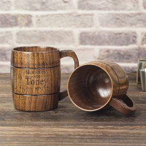 engraved wooden beer mug 1