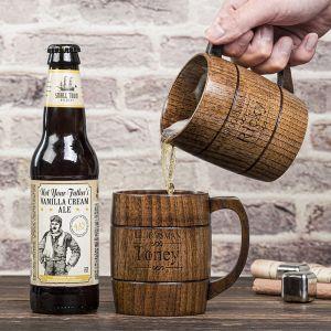 engraved wooden beer mug