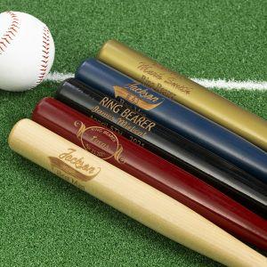 five distinct color baseball bats and a ball