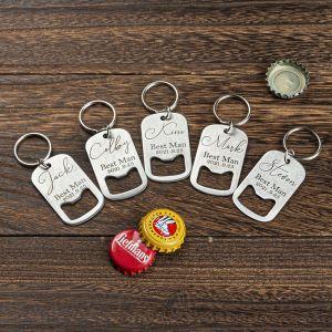 five groomsmen bottle opener keychains