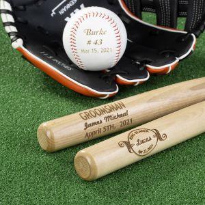groomsmen engraved baseball set