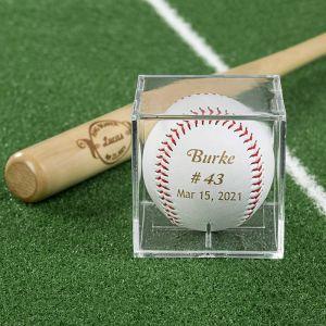 groomsmen engraved baseball with box and bat