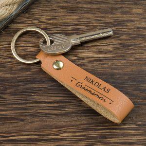 groomsmen engraved brown leather keychain