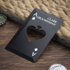 groomsmen poker card bottle opener