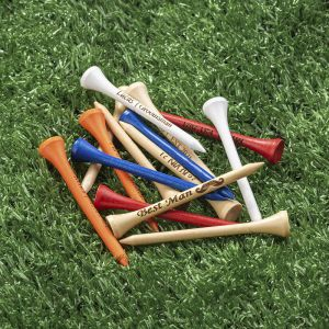 five different color golf tees