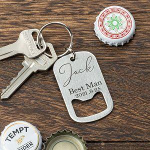 personalized bottle opener keychain for best man