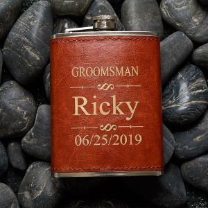 personalized brown leather groomsmen flask