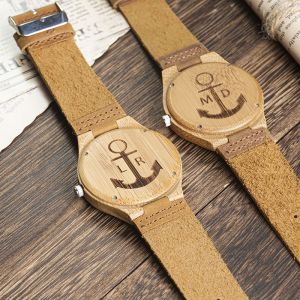 personalized leather wood watch 1