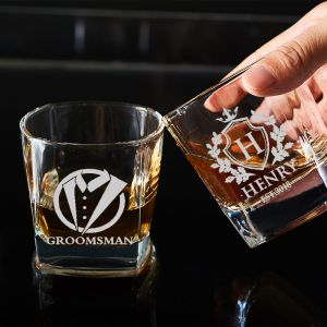 personalized whiskey glass for groomsmen