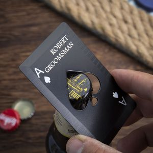 poker card bottle opener in hand