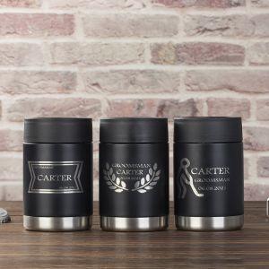 three black groomsmen beer bottle cold keeper cans