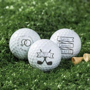 three different design groomsmen golf balls