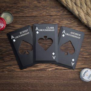 three poker card bottle openers