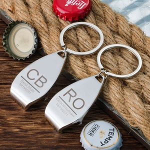 two different name bottle opener keychains